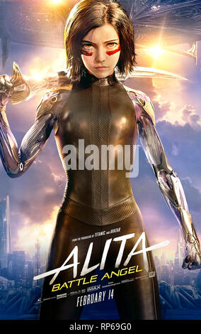 Alita: Battle Angel (2019) directed by Robert Rodriguez and starring Rosa Salazar, Christoph Waltz and Jennifer Connelly. A female cyborg fights back. - Stock Photo