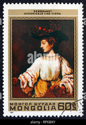 MONGOLIA - CIRCA 1981: a stamp printed in Mongolia shows Hendrickje like Flora, Painting by Rembrandt, circa 1981 - Stock Photo