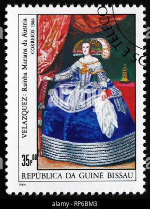 GUINEA-BISSAU - CIRCA 1984: a stamp printed in Guinea-Bissau shows Queen Maria of Austria, Painting by Velazquez, circa 1984 - Stock Photo