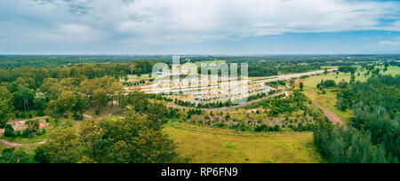 Aerial panorama of Clybucca Rest Area on Pacific Highway, Collombatti in New South Wales, Australia - Stock Photo