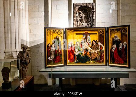 The famous Edelheere altarpiece, a 1443 triptych by Rogier van der Weyden , in St. Peter's Church, Leuven - Stock Photo
