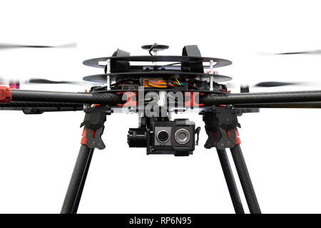 Close up drone camera isolated on white background with clipping path - Stock Photo