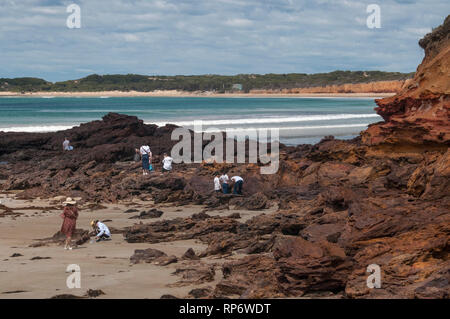 Indicative of the boom in inbound tourism, Asian tourists scramble around coastal cliffs at Anglesea on the Great Ocean Road, Victoria, Australia - Stock Photo