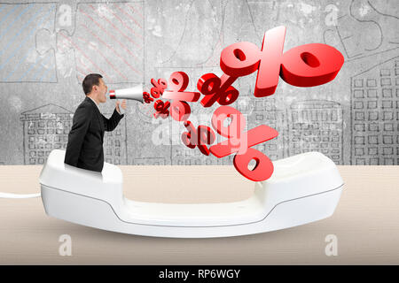 Man using megaphone yelling with 3D percentage marks spraying out, in the telephone handset. - Stock Photo