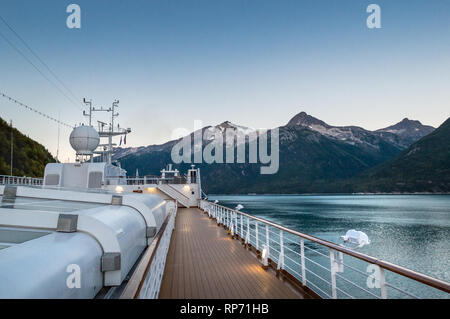 September 15, 2018 - Skagway, AK: Sports deck of Holland America's The Volendam, while docking at port in the early morning in Taiya Inlet. - Stock Photo