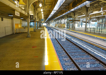 Toronto, Ontario, Canada-27 June, 2017: Toronto Union station VIA Rail terminal and railway tracks - Stock Photo