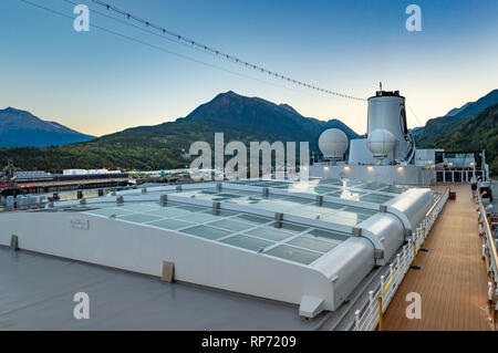September 15, 2018 - Skagway, AK: Sports deck and closed Magrodome of Holland America's The Volendam, while docking at the Port of Skagway. - Stock Photo