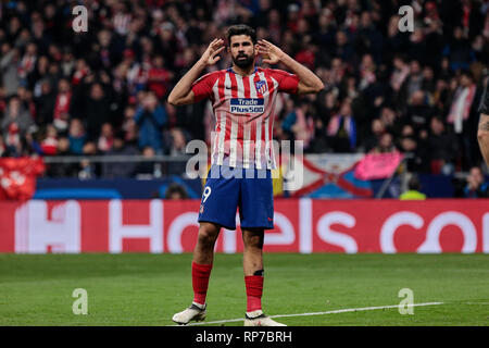 Atletico de Madrid's Diego Costa seen in action during the UEFA Champions League match, Round of 16, 1st leg between Atletico de Madrid and Juventus at Wanda Metropolitano Stadium in Madrid, Spain. - Stock Photo