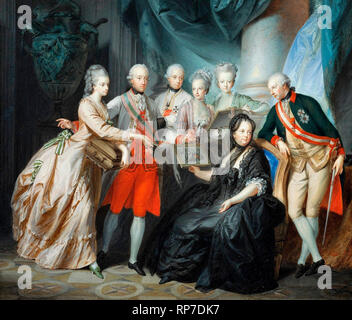 Empress Maria Theresa with Her Children - Empress Maria Theresa (1717-1780) with the family (Albert of Sachsen-Teschen and Marie Christine show the images brought back from Italy, and beyond, Maximilian, Maria Anna, Mary Elizabeth; leaning against the chair Joseph II). Heinrich Füger, circa 1776 - Stock Photo