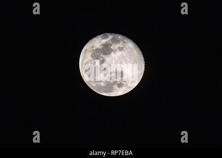 The Super Snow Moon as seen from night skies of Albuquerque, New Mexico, USA - Stock Photo