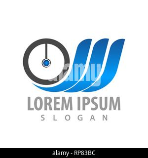 logo concept design. Circle wings. Symbol graphic template element - Stock Photo