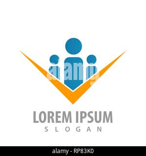 logo concept design. Family check. Symbol graphic template element - Stock Photo