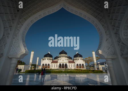 Banda Aceh, ACEH Province, INDONESIA - February 20 2019: Baiturrahman Grand Mosque is located in the heart of Banda Aceh City. - Stock Photo