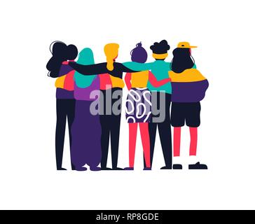 Diverse women friend group hugging together for feminist concept or womens right event. Modern young woman dressed in trendy urban fashion. Female tea - Stock Photo