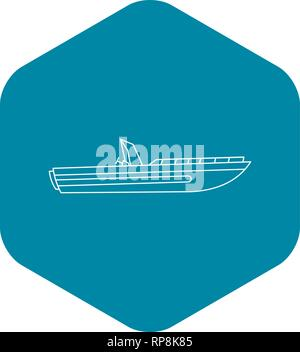 Motor speed boat icon, outline style - Stock Photo