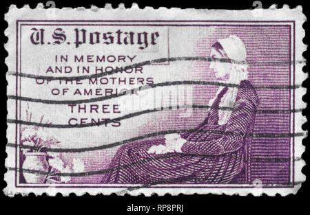 USA - CIRCA 1934: A Stamp printed in USA shows the Adaptation of Whistler's, Portrait of his Mother, Mothers of America Issue, circa 1934 - Stock Photo