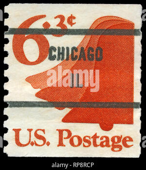 USA - CIRCA 1973: A Stamp printed in USA shows the Liberty Bell, circa 1973 - Stock Photo