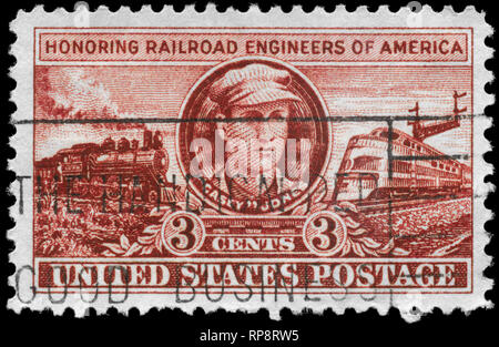 USA - CIRCA 1950: A Stamp printed in USA shows 'Casey' John Luther Jones and Locomotives of 1900 and 1950, Railroad Engineers Issue, circa 1950 - Stock Photo