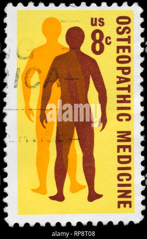 USA - CIRCA 1972: A Stamp printed in USA shows a Man's Quest for Health, Osteopathic Medicine Issue, circa 1972 - Stock Photo