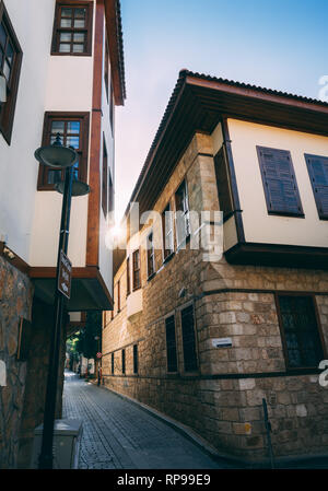 Antalya, Turkey - 25th November 2018: Typical narrow street in most visited old town. Old townn in city centrum. - Stock Photo