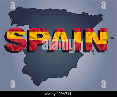 The contours of territory of Spain in grey colours and word Spain in colors of the oficial flag, yellow and red - Stock Photo