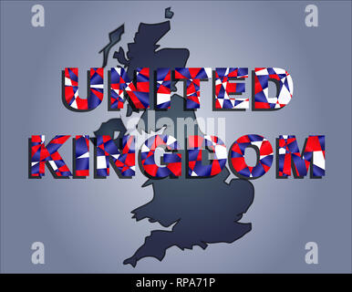 The contours of territory of United Kingdom in grey colours and word United Kingdom in colors of the oficial flag, red, blue and white - Stock Photo