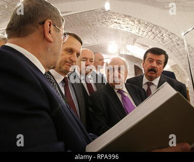 MOSCOW, RUSSIA - FEBRUARY 21, 2019: Russian Federal Archival Agency Head Andrei Artizov, Russian Foreign Intelligence Service Chief, Russian Historical Society Chairman Sergei Naryshkin, Russian Presidential Representative for International Cultural Cooperation Mikhail Shvydkoi, the Head of the World History Institute with the Russian Academy of Sciences, Alexander Chubaryan, and Russian Historical Society Board Chairman Sergei Shakhrai (L-R) attend the opening of an exhibition titled 'Civil War in Russia in Photographs and Newsreels. 1917-1922' at the House of the Russian Historical Society. - Stock Photo