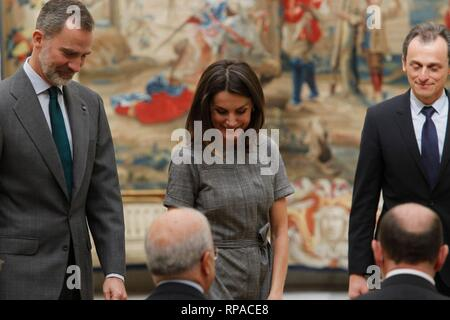 Madrid, Spain. 21st Feb, 2019. Spanish King Felipe VI and Queen Letizia Ortiz during the International Research Prize in the El Pardo Palace in Madrid on Wednesday, 21 February 2019  Cordon Press Credit: CORDON PRESS/Alamy Live News - Stock Photo