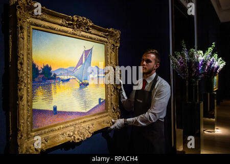 London, UK. 21st Feb, 2019. Paul Signac (1863-1935) Le Port au soleil couchant, Opus 236 (Saint-Tropez) est £12-18m  - Christie's presents an exhibition of works from its upcoming Impressionist & Modern Art and The Art Of The Surreal Sales which will take place on 27 Feb at Christie's King Street. Credit: Guy Bell/Alamy Live News - Stock Photo