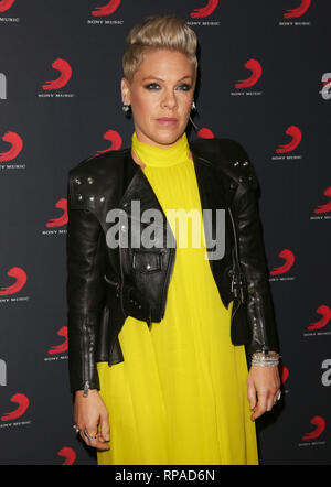 London, UK. 20th Feb, 2019. Pink seen at the Sony Music After Party for The Brit Awards 2019 at The Shard in London. Credit: Brett Cove/SOPA Images/ZUMA Wire/Alamy Live News - Stock Photo