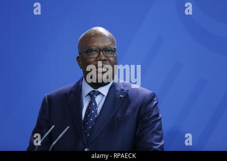 Berlin, Germany. 21st Feb 2019. German Chancellor Angela Merkel and the President of the Republic of Burkina Faso, Roch Marc Kaboré at the press conference in the Federal Chancellery. After a joint discussion, the focus will be on bilateral relations and security and migration policy issues on the situation in the Sahel region. Credit: SAO Struck/Alamy Live News - Stock Photo