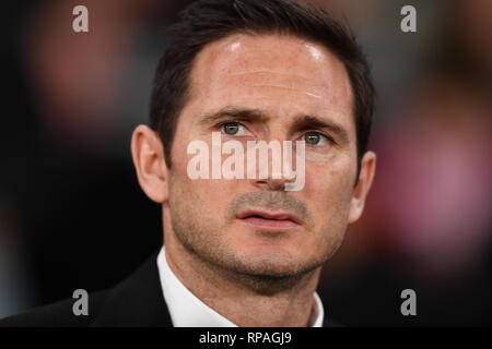 Derby, Derbyshire, UK. 20th Feb 2019. Derby County Manager Frank Lampard during the Sky Bet Championship match between Derby County and Millwall at the Pride Park, Derby on Wednesday 20th February 2019. (Credit: MI News | Alamy) Credit: MI News & Sport /Alamy Live News - Stock Photo