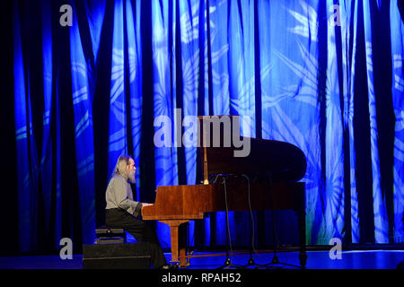 Ukrainian pianist and composer  LUBOMYR MELNYK performs in Prague, Czech Republic, February 21, 2019. He developed the technique of Continuous Music for piano. (CTK Photo/Katerina Sulova) - Stock Photo