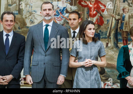 Madrid, Spain. 21st Feb, 2019. King Felipe VI of Spain and Queen Letizia of Spain attend the National Research Awards 2018. February 21, 2019. Credit: Jimmy Olsen/Media Punch ***No Spain***/Alamy Live News - Stock Photo
