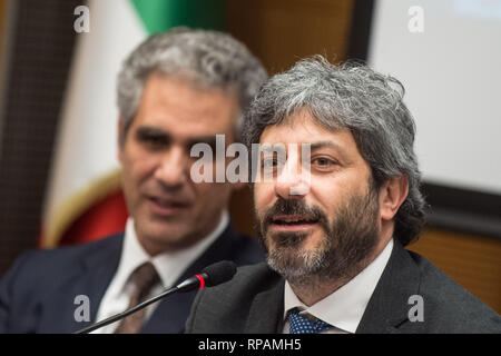 Foto Valerio Portelli/LaPresse 21-02-2019 Roma, Italia COMUNICARE IL CAMBIAMENTO - PAROLE GUERRIERE Politica Nella Foto: Marcello Foa Presidente RAI, Roberto Fico  Photo Valerio Portelli/LaPresse 21 February 2019 Rome, Italy COMMUNICATE CHANGE - WORDS WARRIORS Politics In the pic: Marcello Foa President of RAI, Roberto Fico - Stock Photo