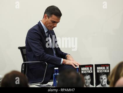 Madrid, Spain. 21st Feb, 2019. Spanish Prime Minister Pedro Sanchez attends the presentation of his book 'Manual de resistencia' ('Handbook of Resistance') in Madrid, Spain, 2 February 2019. Credit: Kiko Huesca/EFE/Alamy Live News - Stock Photo