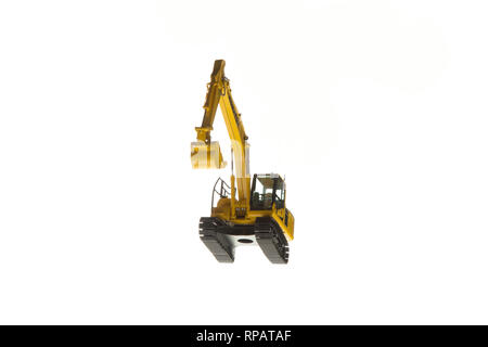 Excavator construction machinery front angle bottom view - Stock Photo