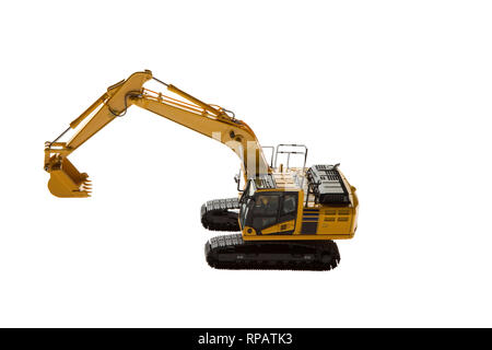 Excavator construction machinery aerial view - Stock Photo