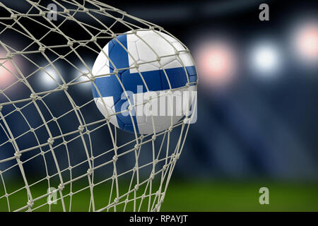 Soccerball with flag in net - Stock Photo