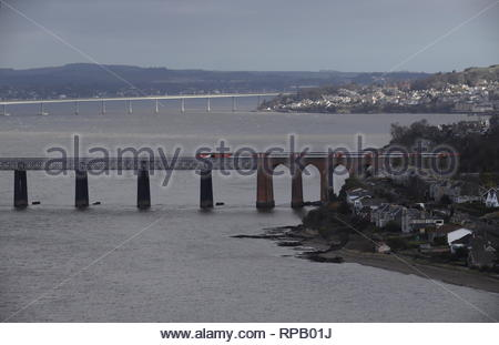 High speed LNER train crossing Tay Rail Bridge Scotland  February  2019 - Stock Photo