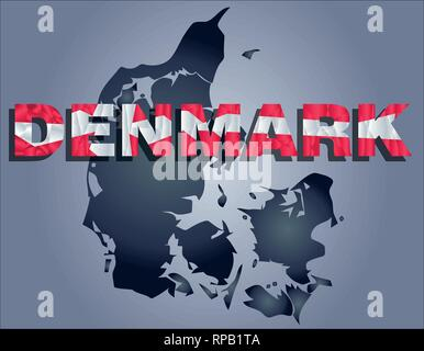 The contours of territory of Denmark in grey colours and word Denmark in colors of the oficial flag, red and white - Stock Photo