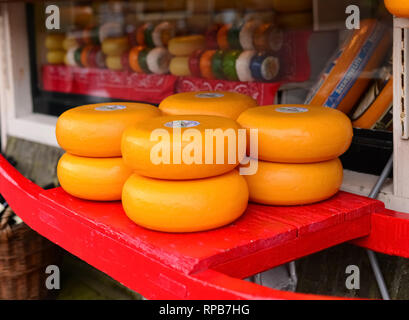 Detail of an cheese shop in the centre of the historic town of Edam, North Holland, The Netherlands - Stock Photo