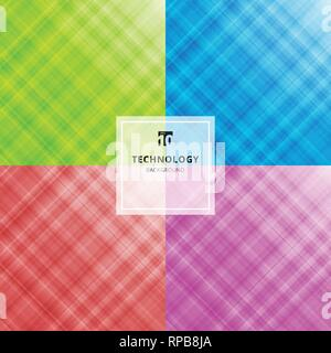 Set of striped abstract blue, green, red, purple color technology background. Digital fractal pattern. Blurred texture with glass effect. Vector illus - Stock Photo