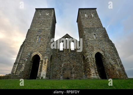 Reculver Abbey, Herne Bay, Kent. St Mary's church ruins at sunset. - Stock Photo