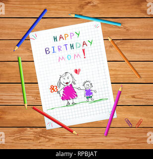 Happy Birthday Mom. Children Colorful Hand Drawn Illustration of Mother and Son Together on Squared Notebook Sheet on Wooden Table With Colored Pencil - Stock Photo