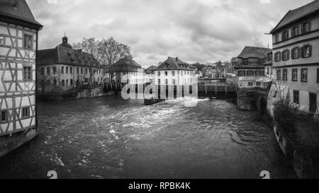 January 2019. Black and white panorama view on the river Pegnitz in Nuremberg, Germany - Stock Photo