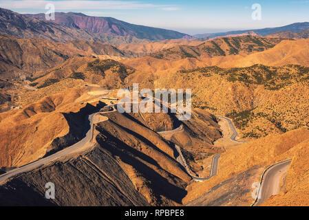 Road through a mountain pass in the Atlas Mountains, Morocco