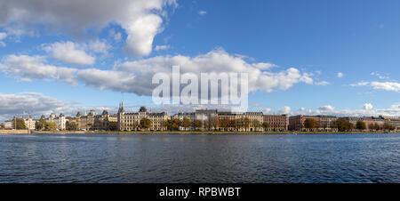 Panoramic View over The Lakes in Copenhagen, Denmark - Stock Photo