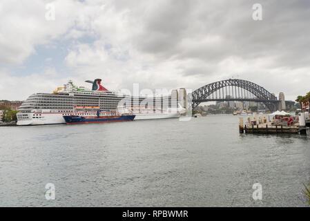 The Carnival Spirit Cruise Ship from Valetta Malta docked in Sydney Harbour Australia - Stock Photo