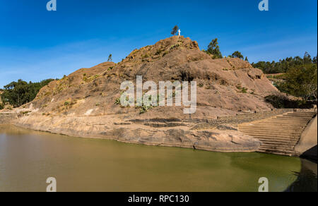 Ethiopia, Axum, the ruins of the baths of the Queen of Saba, Africa - Stock Photo